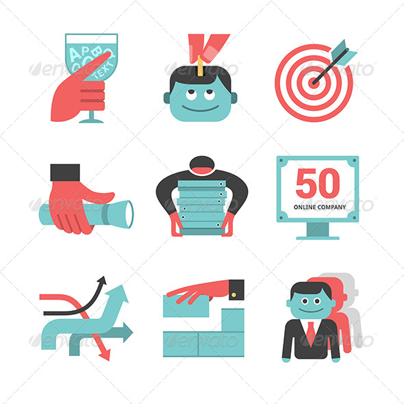 Content Management Flat Icons Set. Part 1 - Business Icons