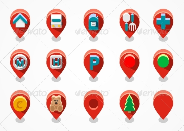 Red Navigation Icons - Web Icons