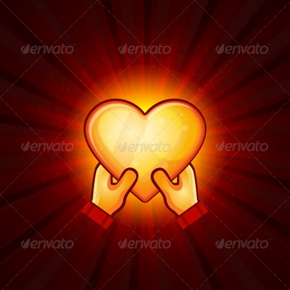 Gold Heart And Hands On Red Background - Valentines Seasons/Holidays