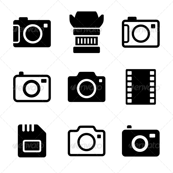 Photo Camera and Accessories Icons Set - Technology Icons