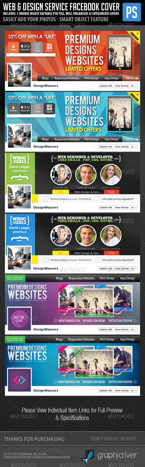 Web & Graphic Design Service Facebook Bundle - Facebook Timeline Covers Social Media
