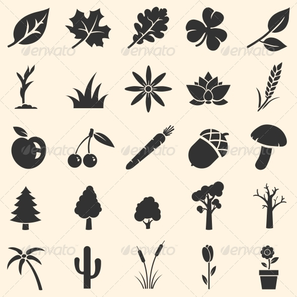 Vector Set of Plants Icons  - Miscellaneous Icons