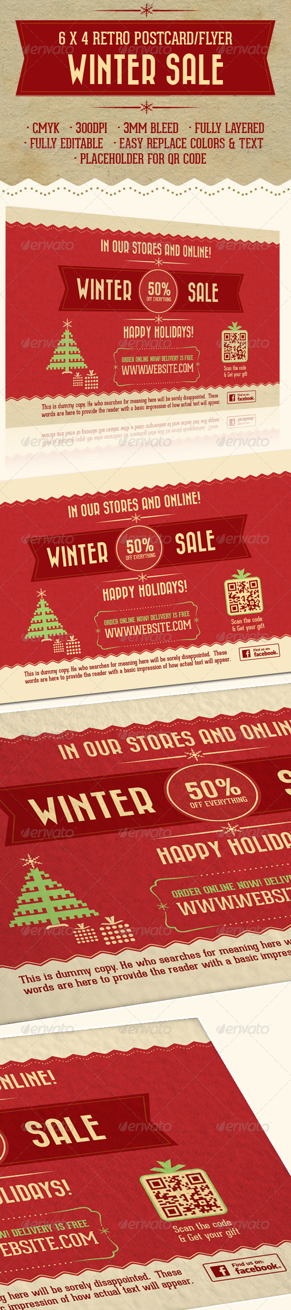 6X4 Retro Holiday Sale Postcard/Flyer  - Flyers Print Templates