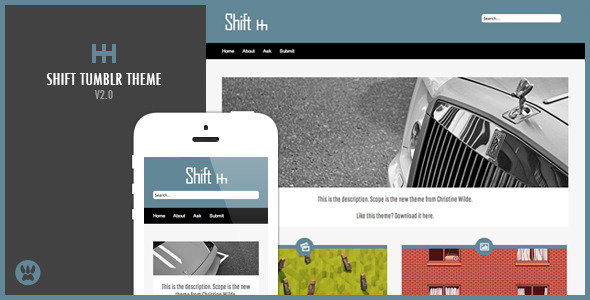 Shift – A Responsive Masonry Tumblr Theme