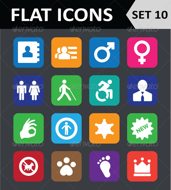 Universal Colorful Flat Icons. Set 10. - Icons