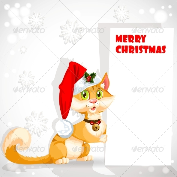 Cat in Santa's Hat Holding a Banner - Animals Characters