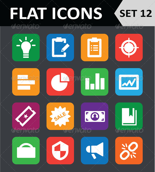 Universal Colorful Flat Icons Set 12 - Icons