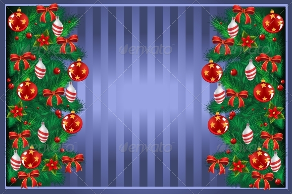New Year Post Card with Christmas Tree - Christmas Seasons/Holidays
