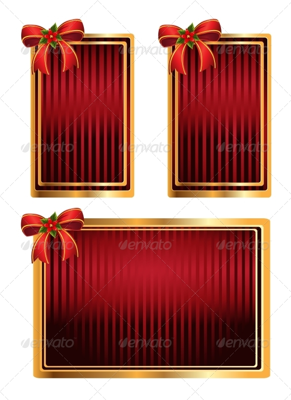Vector Set of Red Tags with Bow - Christmas Seasons/Holidays