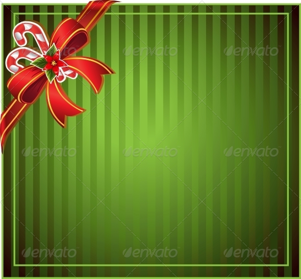 Green Christmas Background with Bow - Christmas Seasons/Holidays