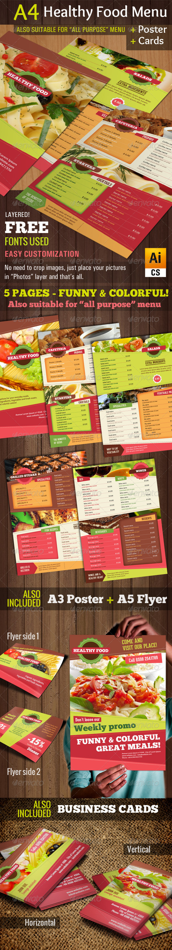 A4 Healthy Food Menu + Poster + Flyer + Cards - Food Menus Print Templates