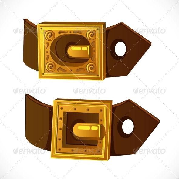 Gold Buckle on Brown Belt - Man-made Objects Objects