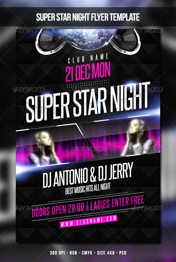 Super Star Night Flyer Template - Clubs & Parties Events
