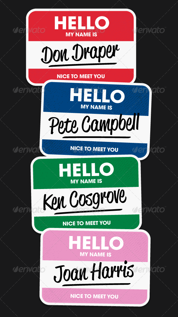 Hello Name Stickers - Vectors - Man-made Objects Objects