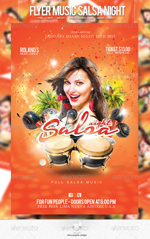 Flyer Music Salsa Night - Clubs & Parties Events