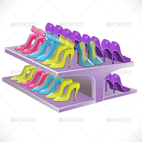 Counter with Female Footwear - Man-made Objects Objects