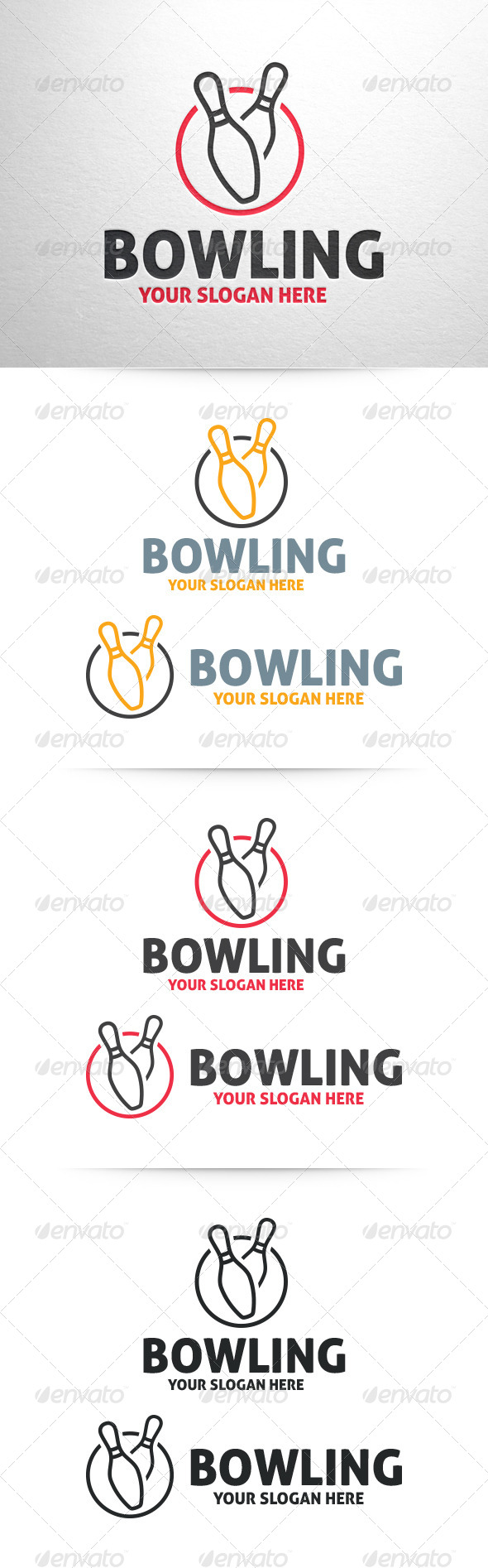 Bowling Logo Template - Part 2 - Objects Logo Templates
