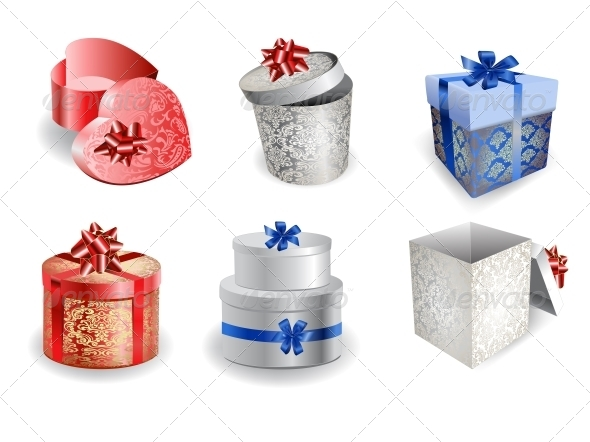 Set of Colorful Gift Boxes with Bows and Ribbons.  - Christmas Seasons/Holidays