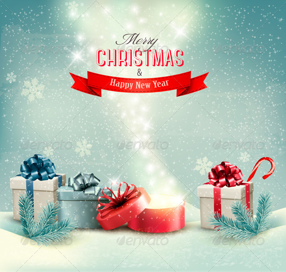 Christmas Holiday Background with Presents - Christmas Seasons/Holidays