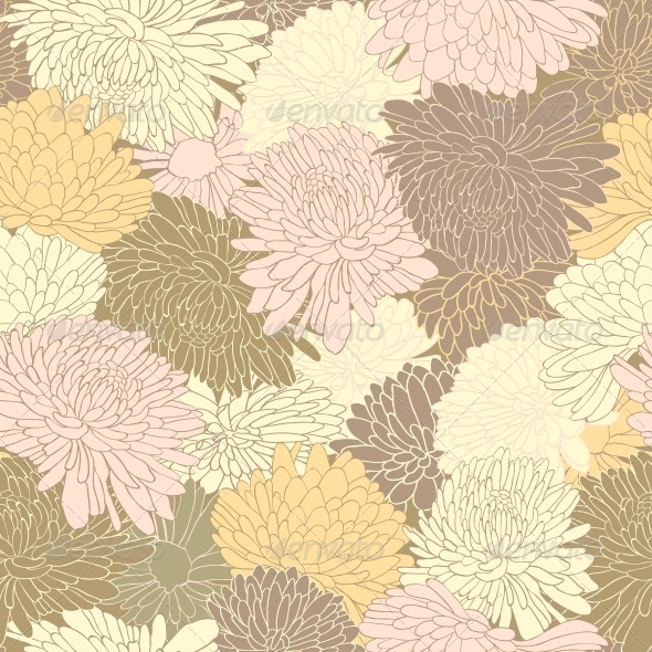 Floral Pattern. Background with Chrysanthemum. - Flowers & Plants Nature