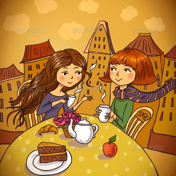 Two Young Women Drinking Coffee in Cafe   - Patterns Decorative