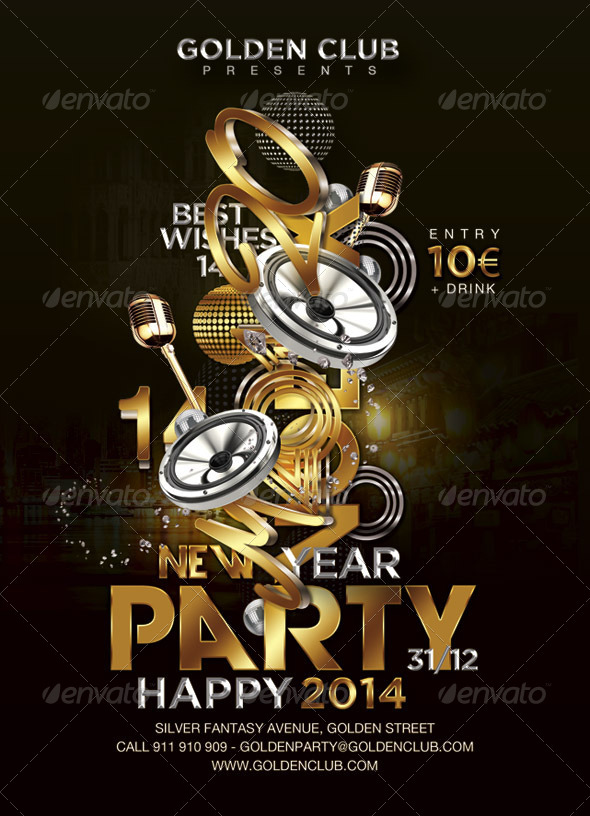 Flyer Golden Club New Year Party - Events Flyers