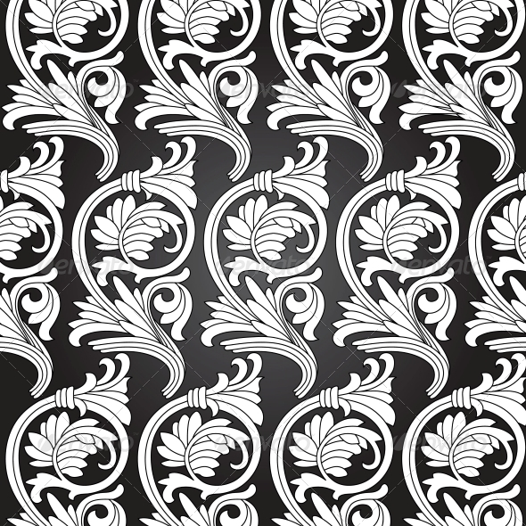Damask Vintage Floral Seamless Pattern Background. - Patterns Decorative