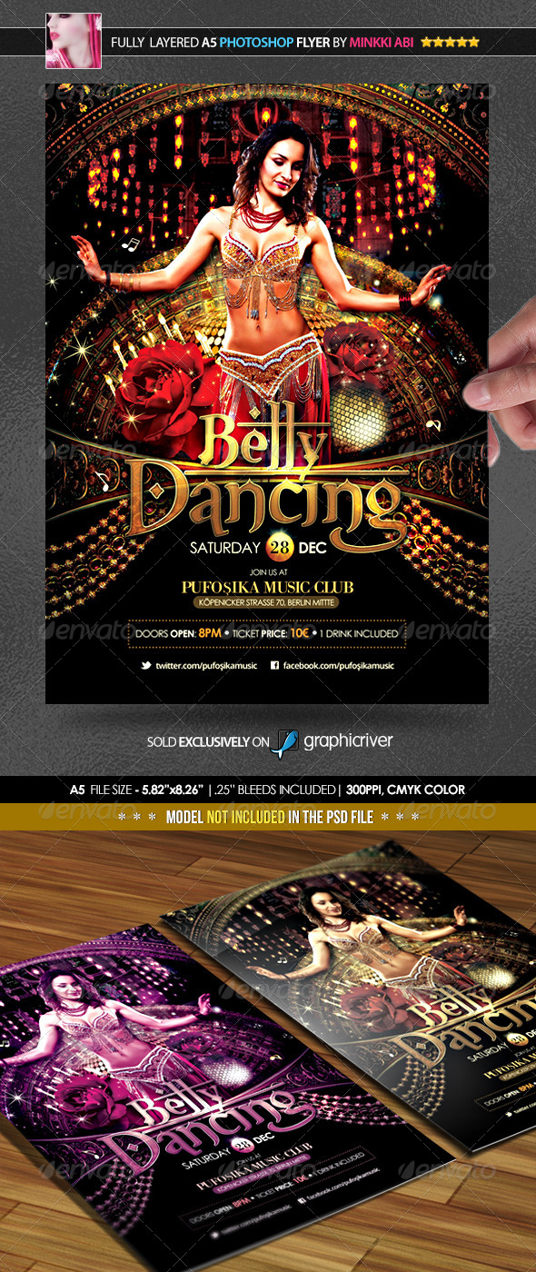 Belly dancing poster flyer by minkki graphicriver for 1001 nights persian cuisine groupon