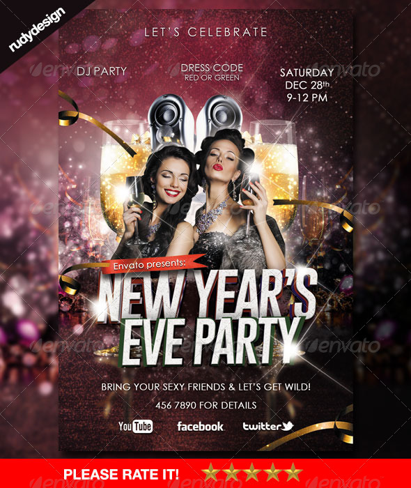 Elegant New Year's Eve Party Flyer - Holidays Events