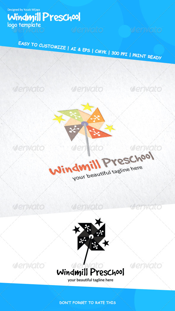 Windmill Preschool - Objects Logo Templates