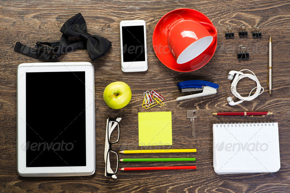 items laid on the table, still life - Stock Photo - Images