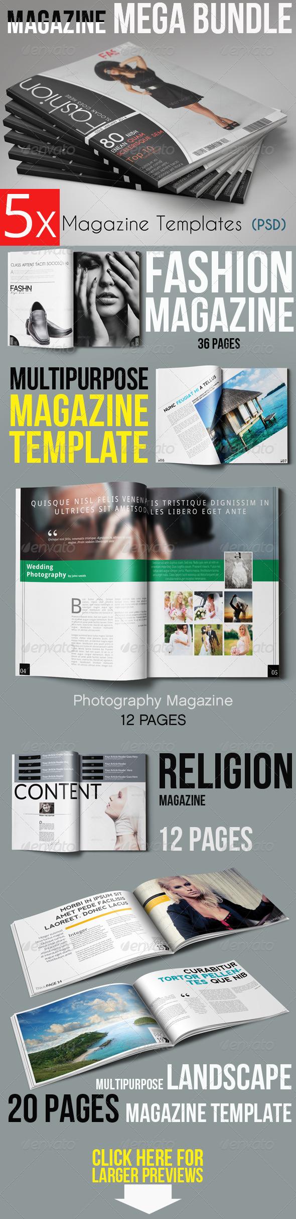 5x Magzine Template Bundle - Magazines Print Templates