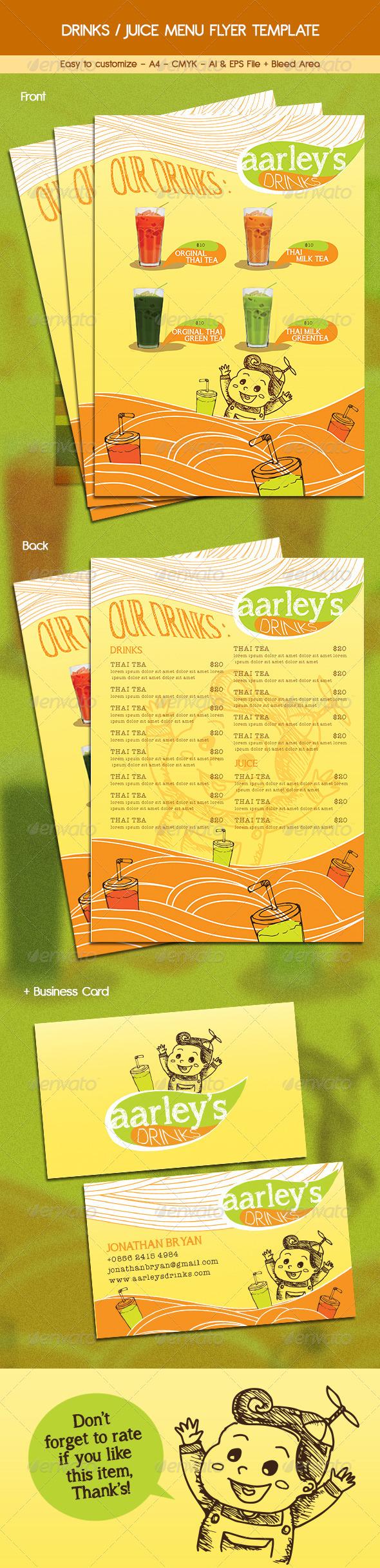 Drinks / Juice Menu Flyer - Food Menus Print Templates