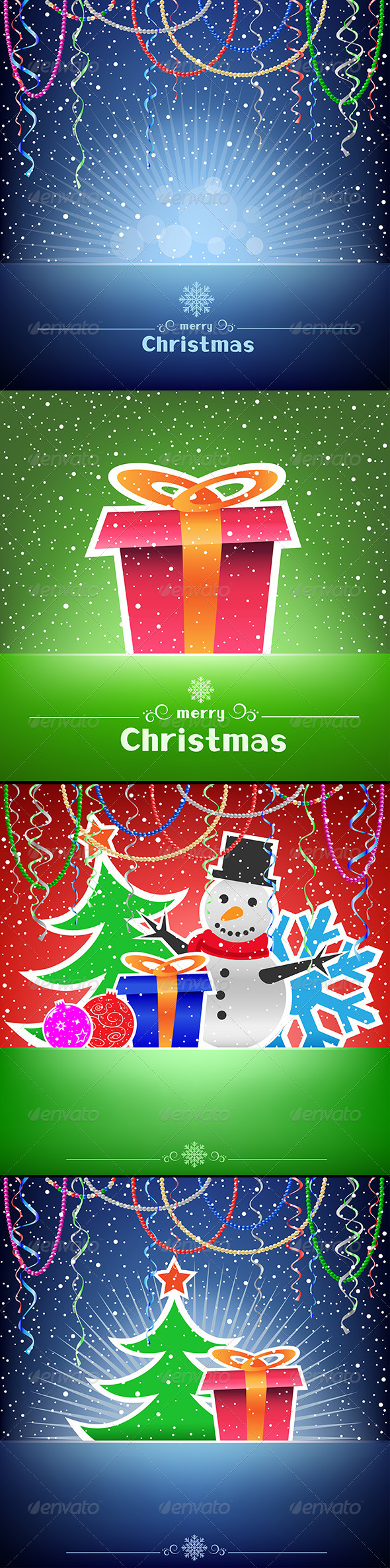 Christmas and New Year Multicolored Card Collection - Christmas Seasons/Holidays