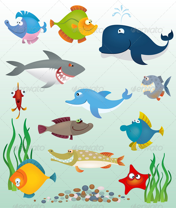 Cartoon fish set - Animals Characters