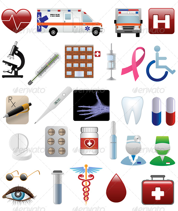 Hospital icons set - Health/Medicine Conceptual