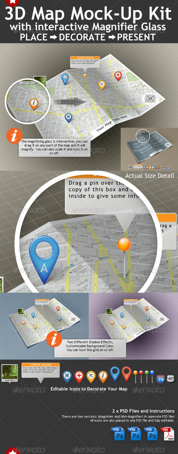 3D Map Mock-Up Kit with Magnifying Glass - Miscellaneous Backgrounds