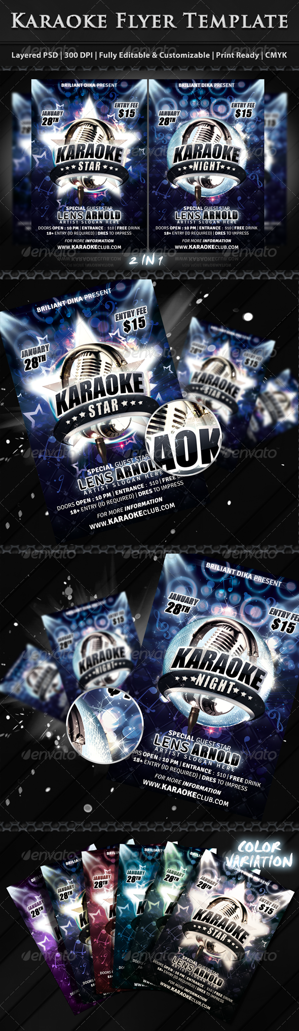 Karaoke Star Or Night Party Flyer - Clubs & Parties Events