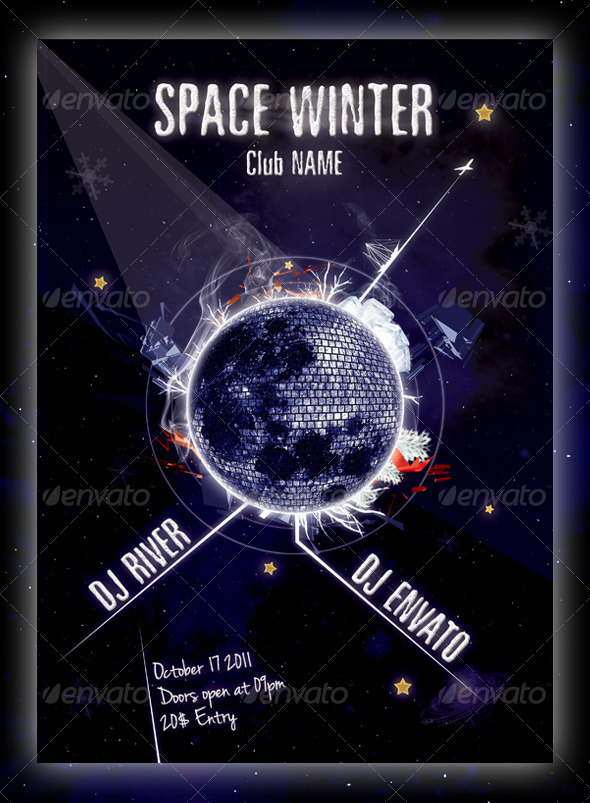 Space Winter Flyer Template - Clubs & Parties Events