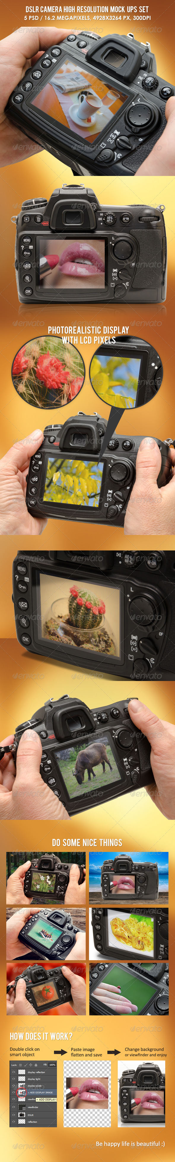DSLR Camera High Resolution Mock-ups - Product Mock-Ups Graphics