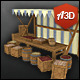 Grain Market Stall with Hand-painted Texture Style - 3DOcean Item for Sale
