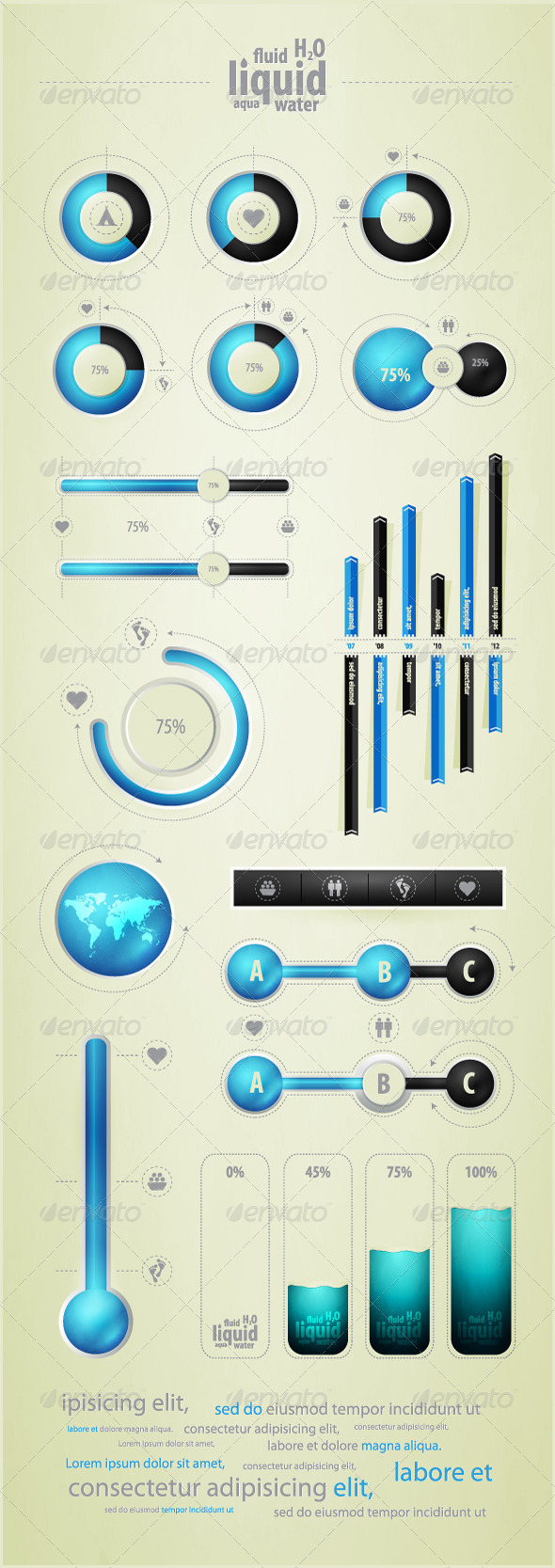 Infographics element on water and liquid - Infographics