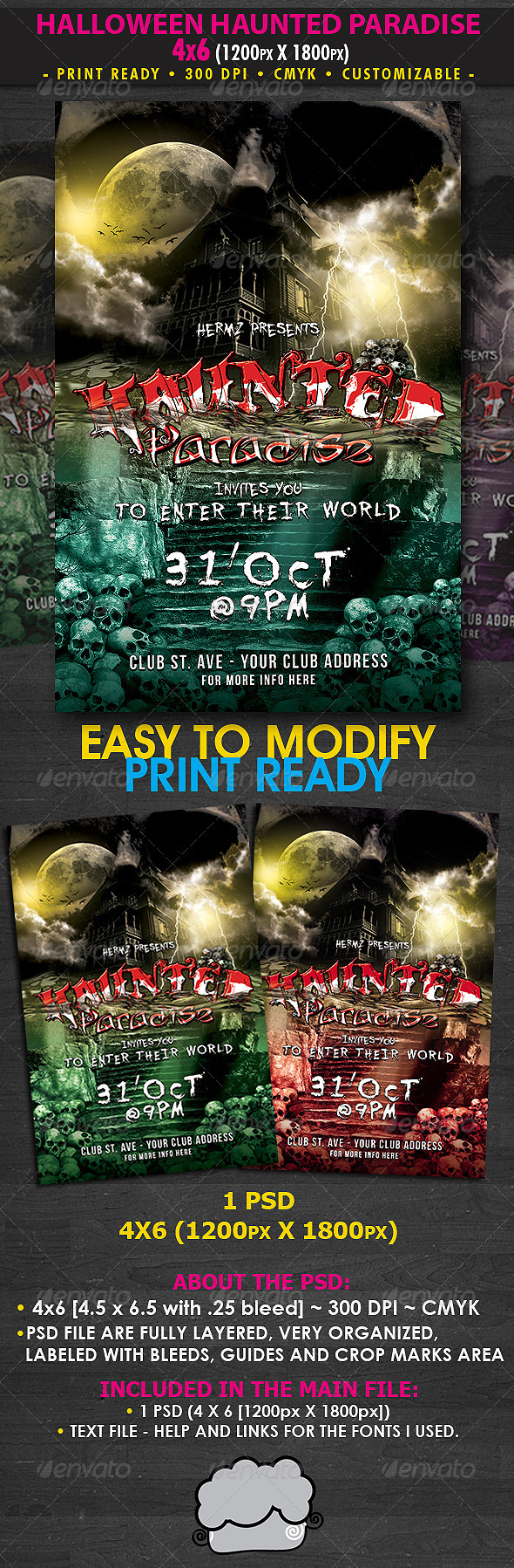 Halloween Haunted Paradise Flyer Template - Clubs & Parties Events