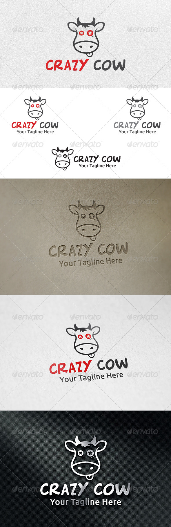 Crazy Cow - Logo Template - Animals Logo Templates