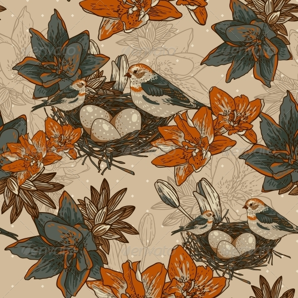Seamless Floral Background with Bird  - Patterns Decorative