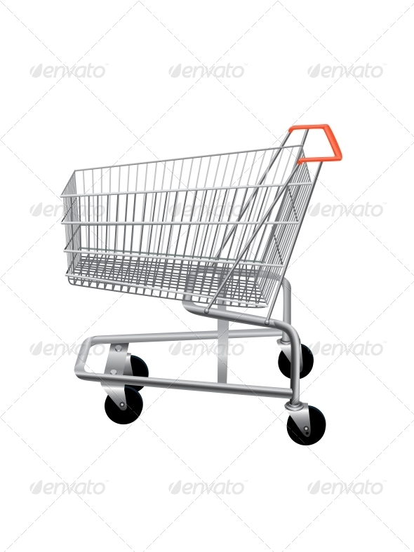 Empty Supermarket Shopping Cart  - Retail Commercial / Shopping