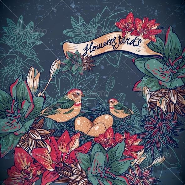 Vintage Floral Background with Birds  - Patterns Decorative