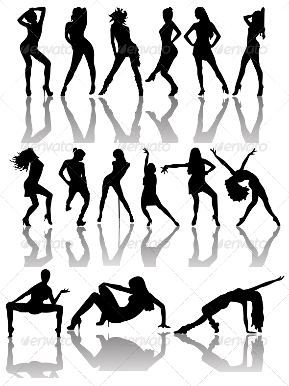 Set of Silhouettes of Dancing Couple and Girls - People Characters