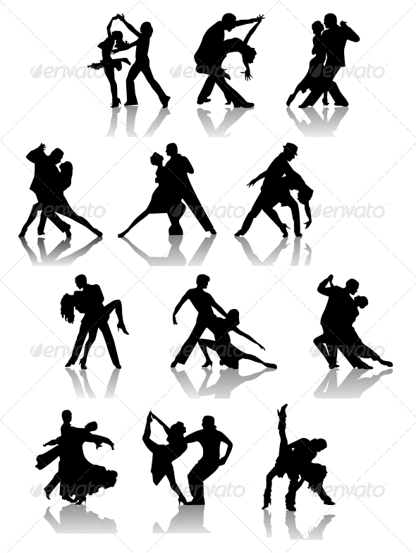 Set of Silhouettes of Dancing Couple .  - People Characters