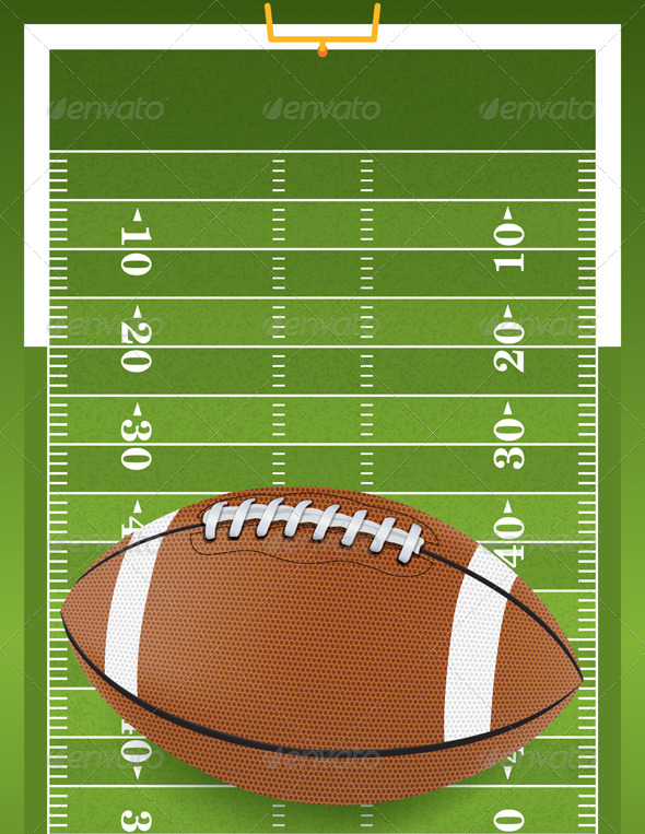 Realistic Football on Textured Football Field - Sports/Activity Conceptual